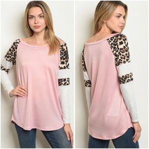 Cheetah print & color block top